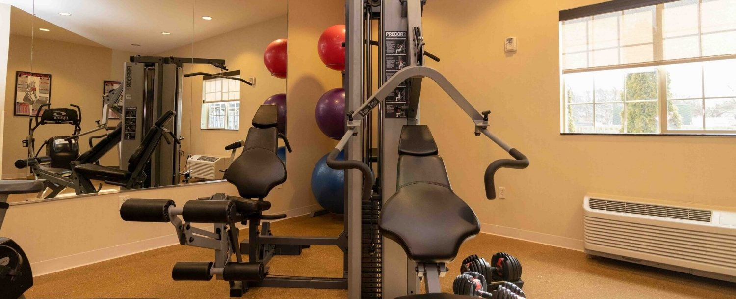 24 hour fitness center and heated indoor pool and 8 person spa hotel in the finger lakes NY