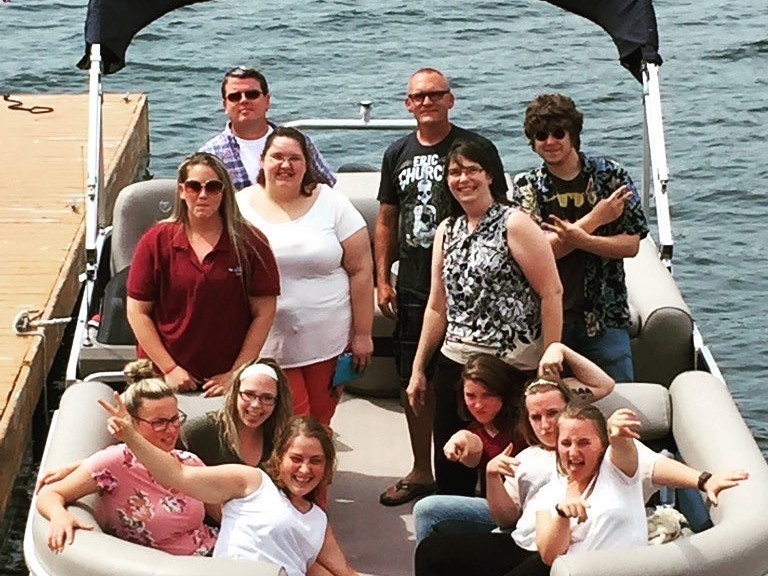 staff on a boat